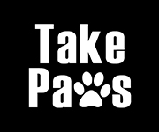 "Take Paws logo with a paw print for the ""w"""