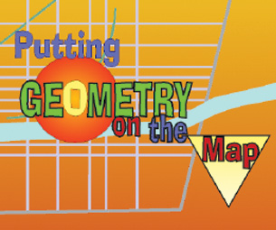Putting Geometry on the Map logo with math symbols in the background