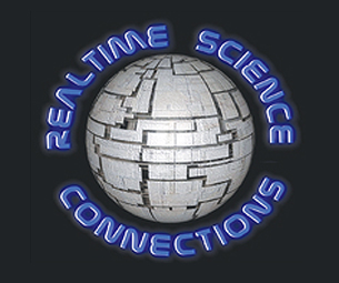 Realtime Science Connections logo with realtime science connections spelled around a globe